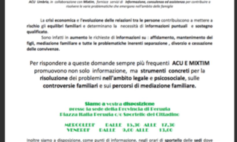 Progetto famiglia: A.C.U. Umbria con Mixtim e Cesvol apro sportello per informazioni, consulenza e assistenza e cittadini e famiglie