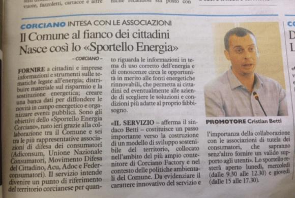 """Orari e preferenze di A.C.U. Umbria allo """"Sportello energia"""" di Corciano nel mese di marzo"""