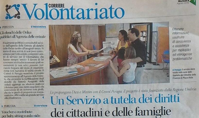Corriere Volontariato con l'Associazione Consumatori Utenti Umbria