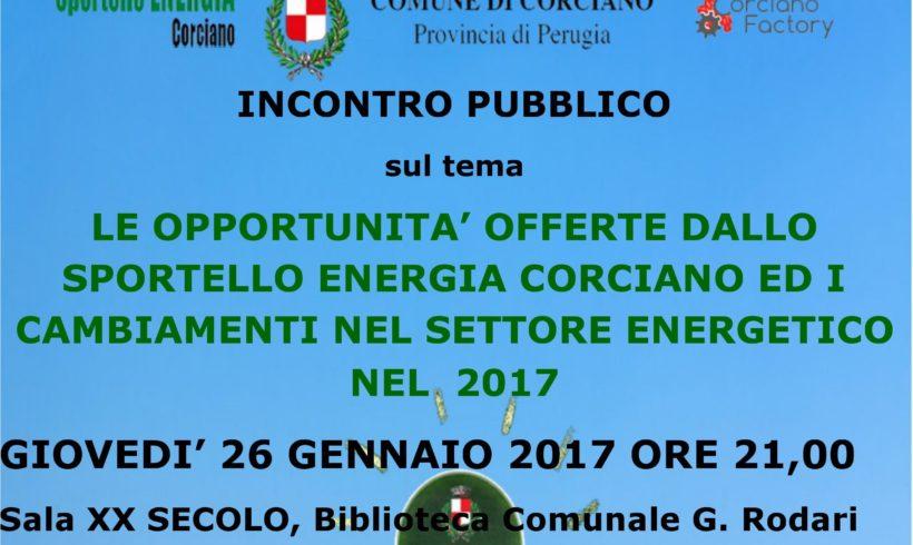 Acu partecipa all'incontro sul tema: le opportunità offerte dallo sportello Energia di Corciano ed i cambiamenti nel settore energetico nel 2017