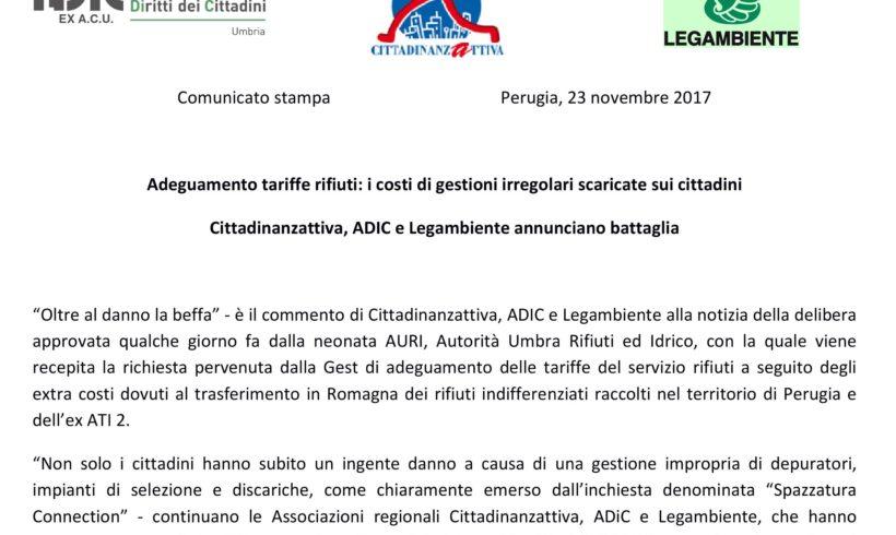Adeguamento tariffe rifiuti: i costi di gestioni irregolari scaricate sui cittadini Cittadinanzattiva, ADIC e Legambiente annunciano battaglia