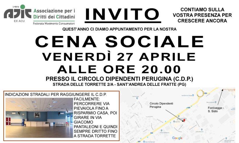 CENA SOCIALE ADIC: VENERDI' 27 APRILE ALLE ORE 20 PRESSO CDP PERUGINA