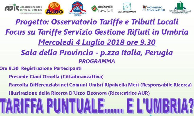 Progetto: Osservatorio tariffe e tributi locali – Mercoledi' 4 Luglio ore 9.30 – Sala della Provincia di Perugia